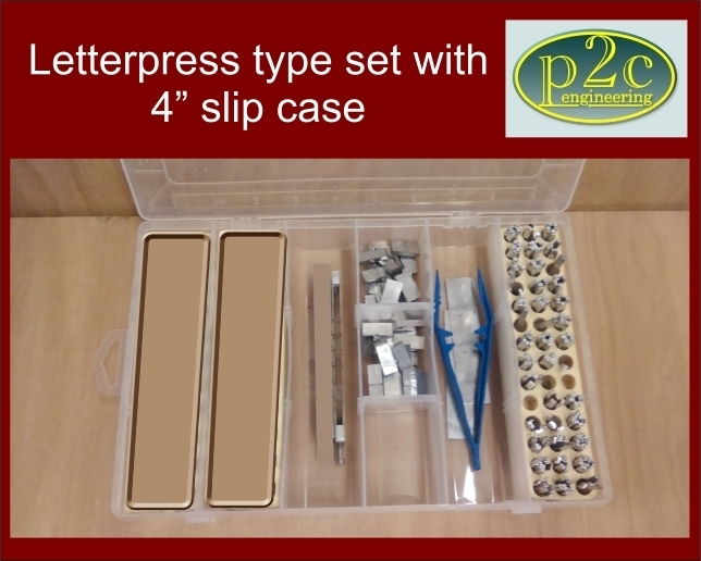 "Alloy Letterpress type set in UPPER CASE only with 4"" slip case"