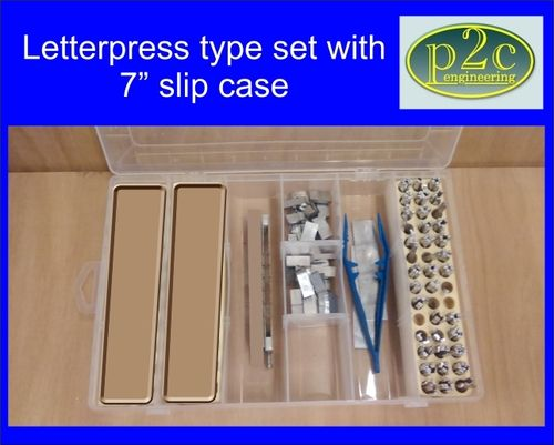 "Alloy Letterpress type set in UPPER CASE only with 7"" slip case"